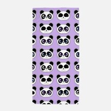 Cute Panda Expressions Pattern Purple Beach Towel