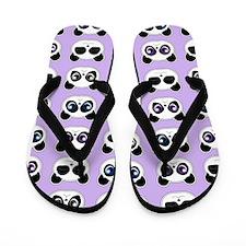 Cute Panda Expressions Pattern Purple Flip Flops