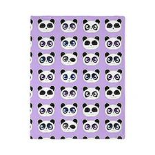 Cute Panda Expressions Pattern Purple Twin Duvet