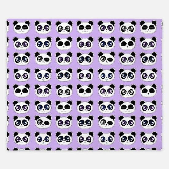 Cute Panda Expressions Pattern Purple King Duvet