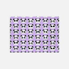 Cute Panda Expressions Pattern Purp 5'x7'Area Rug