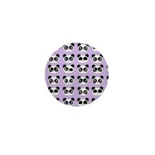 Cute Panda Expressions Pattern Purple Mini Button