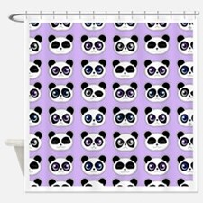 Cute Panda Expressions Pattern Purp Shower Curtain