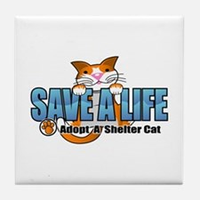 Shelter Cat/ Blue Tile Coaster