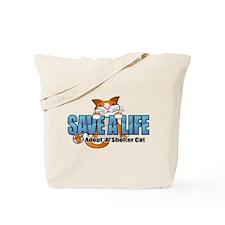 Shelter Cat/ Blue Tote Bag