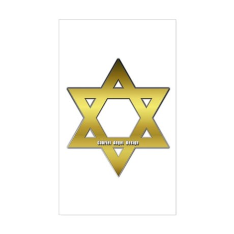 Gold Star of David Rectangle Sticker