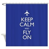 Aviation keep calm fly on Shower Curtains