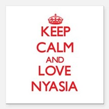 "Keep Calm and Love Nyasia Square Car Magnet 3"" x 3"