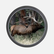 Wild Elk with Huge Antlers Wall Clock
