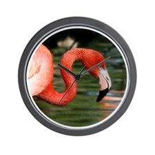Bright Pink Flamingo Head and Curved Ne Wall Clock