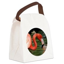 Bright Pink Flamingo Head and Cur Canvas Lunch Bag