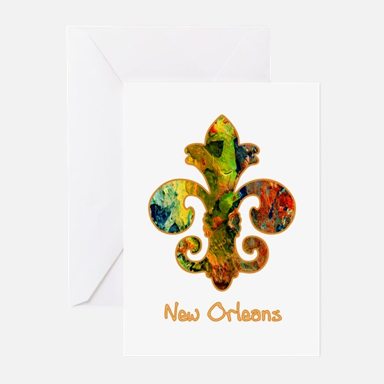 Painted Fleur de lis (2) Greeting Cards (Package o