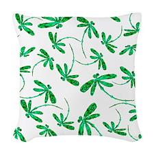 Dragonflies Neon Green Woven Throw Pillow