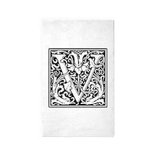 Decorative Letter V 3'x5' Area Rug