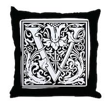 Decorative Letter V Throw Pillow