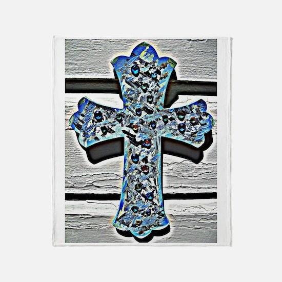 Handmade Cross in Blue Throw Blanket