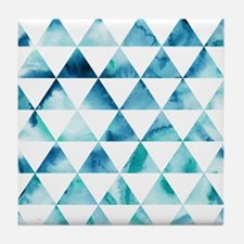 Blue Triangle Geometric Pattern Tile Coaster