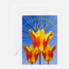 100th Birthday card, tulips full of sunshine Greet