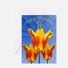 96th Birthday card, tulips full of sunshine Greeti