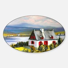 House with a view  Sticker (Oval)