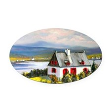 House with a view  Oval Car Magnet
