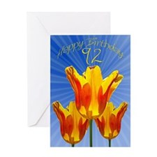92nd Birthday card, tulips full of sunshine Greeti