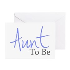 Aunt To Be (Blue Script) Greeting Cards (Package o
