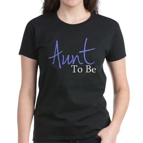 Aunt To Be (Blue Script) Women's Dark T-Shirt