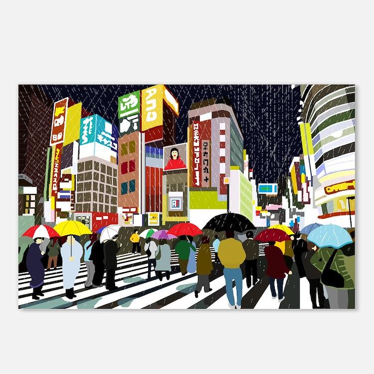 UMBRELLAS IN TOKYO RAIN Postcards (Package of 8)
