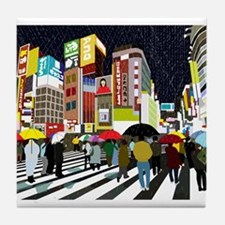 UMBRELLAS IN TOKYO RAIN Tile Coaster
