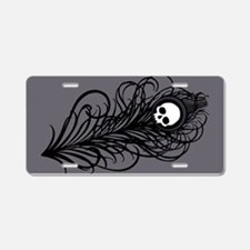 Gothic Black Peacock Feather Aluminum License Plat