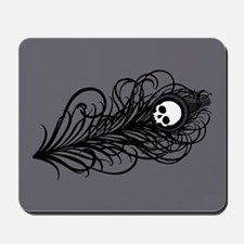 Gothic Black Peacock Feather Mousepad