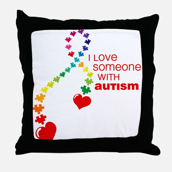 Autism Love Ribbon Throw Pillow