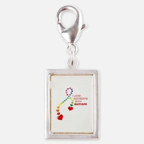 Autism Love Ribbon Silver Portrait Charm