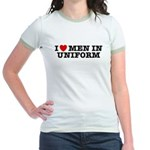 I Love Men in Uniform Jr. Ringer T-Shirt