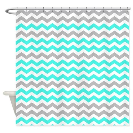 Gray And Turquoise Chevrons Shower Curtain By ShowerCurtainsWorld