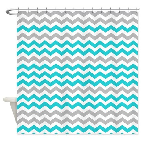 Gray And Medium Turquoise Chevrons Shower Curtain By ShowerCurtainsWorld