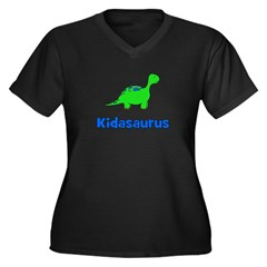 Kidasaurus dinosaur Women's Plus Size V-Neck Dark