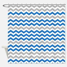 Gray and medium blue 3 chevrons Shower Curtain