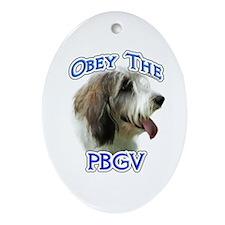 PBGV Obey Oval Ornament