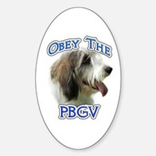 PBGV Obey Oval Decal