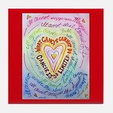 Rainbow Heart Cancer Tile Coaster