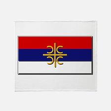 Flag of Serbian Cross Throw Blanket