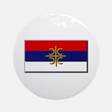 Flag of Serbian Cross Ornament (Round)
