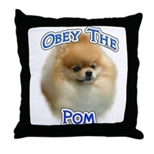Pomeranian Obey Throw Pillow