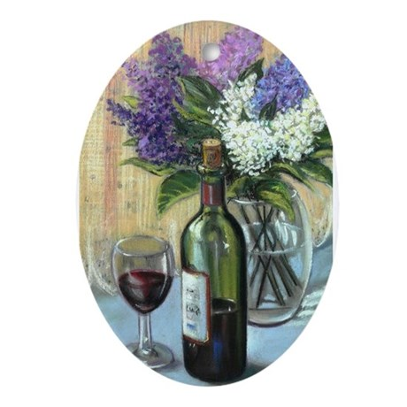Wine bottle and lilac Oval Ornament