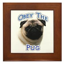 Pug Obey Framed Tile