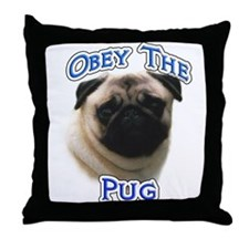 Pug Obey Throw Pillow