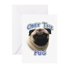 Pug Obey Greeting Cards (Pk of 10)