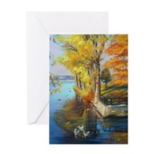 Colorful autumn on the lake Greeting Card